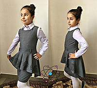 Сарафан школьный для девочек,  ткань тиар, размеры 128,134,140, 146 см