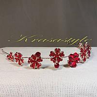 Золотая тиара с красными камнями Цветы 2