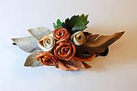 Заколка с бело - коричневыми розами, фото 1