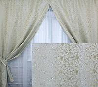 Комплект готовых штор (2шт. 1,5*2,7м.) , цвет серо-салатовый 040ш (У)