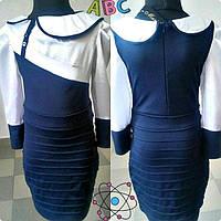 Платье школьное для девочек,  ткань трикотаж+стрейч-атлас, размеры 122, 128,134,140 см
