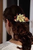 Заколка с желто - зеленым цветком, фото 1