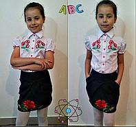 Блузка школьная для девочек детская с вышивкой, размеры 116,122,128,134 см