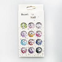 Набор цветных камешков для дизайна ногтей