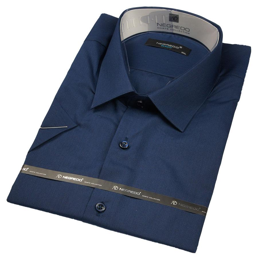 Рубашка мужска тёмно-синяя Negredo 30321 Slim