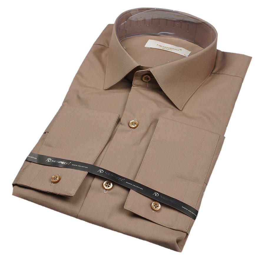 Рубашка мужская цвет капучино Negredo 25023 Slim