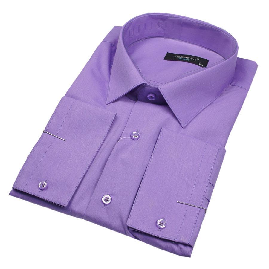Рубашка мужская Negredo 31072 Slim однотонная сиреневая