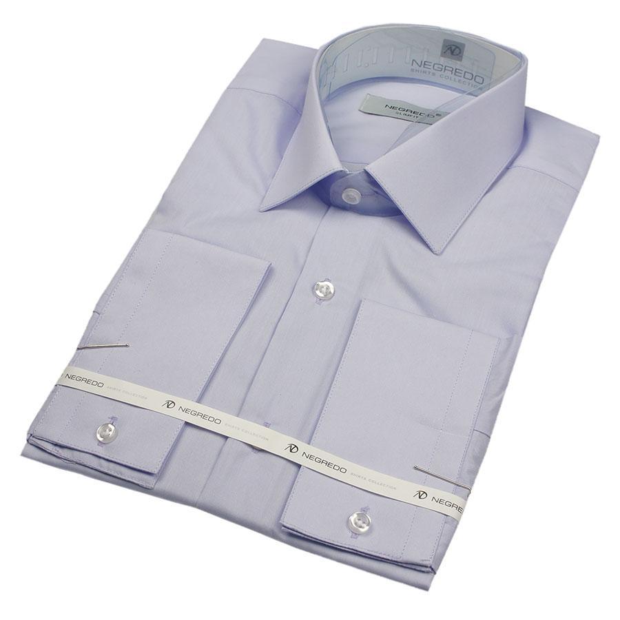Однотонная рубашка Negredo 31028 Slim светло-сиреневого цвета