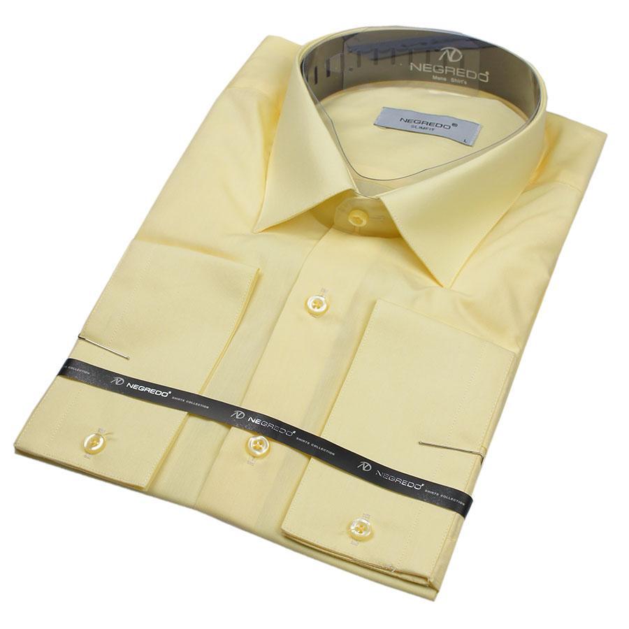 Приталенная мужская рубашка  Negredo 22078 Slim в желтом цвете