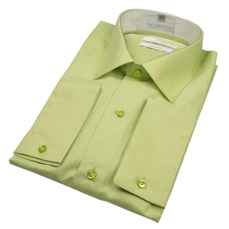 Мужская рубашка Negredo 27008 Slim салатового цвета