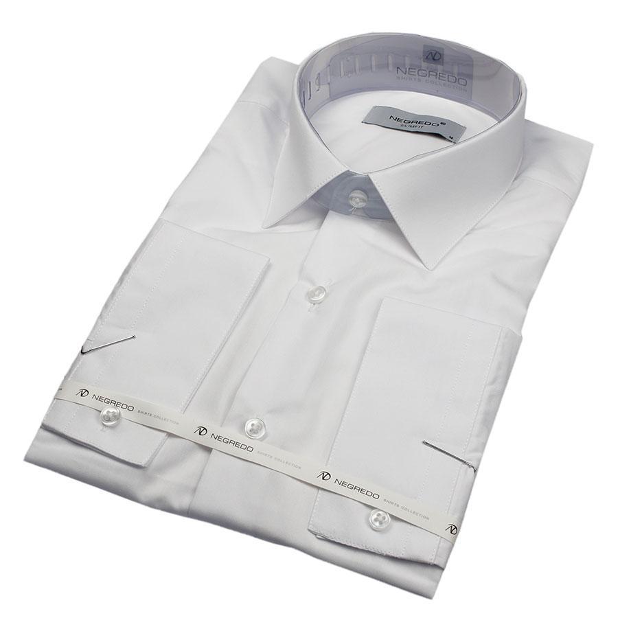 Рубашка мужская  Negredo WHITE Slim белая приталенная