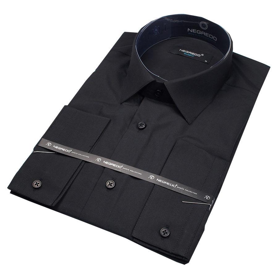 Сорочка чоловіча чорна приталені Negredo Black Slim