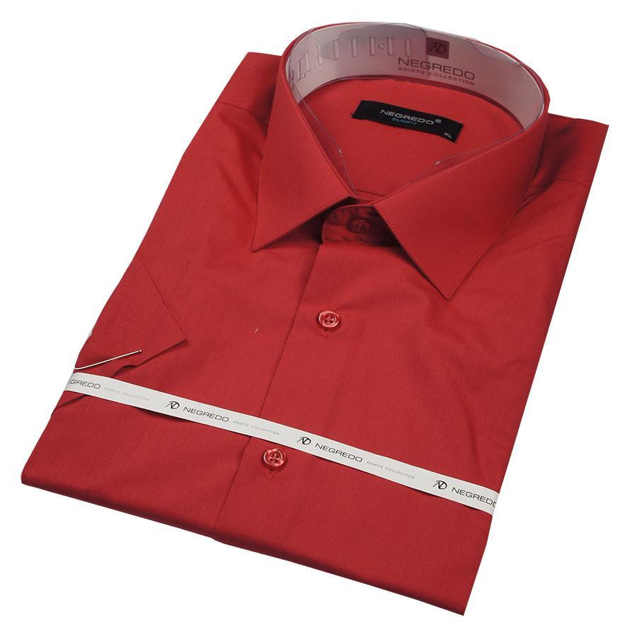Мужская рубашка Negredo в вишневом цвете 26051 Slim