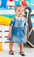 Джинсовое платье с кружевным воротничком