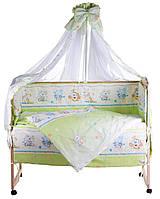 Детская постель Qvatro Lux RL-08 салатовая (мышки с сыром,слон,кот,собачки)