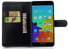 Кожаный чехол-книжка для Meizu M2 Note черный, фото 3