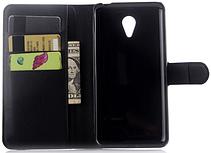 Кожаный чехол-книжка для Meizu M2 Note черный, фото 2