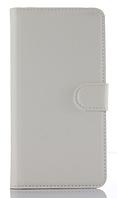 Кожаный чехол-книжка для HomTom HT17 белый