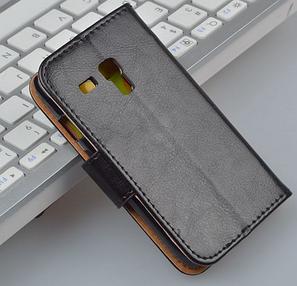 Кожаный чехол-книжка для Samsung Galaxy S3 mini i8190 коричневый, фото 2