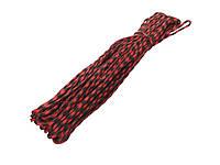 Паракордовий шнур (Мотузка для туризму і виживання) 31 метр  Червоний з чорним