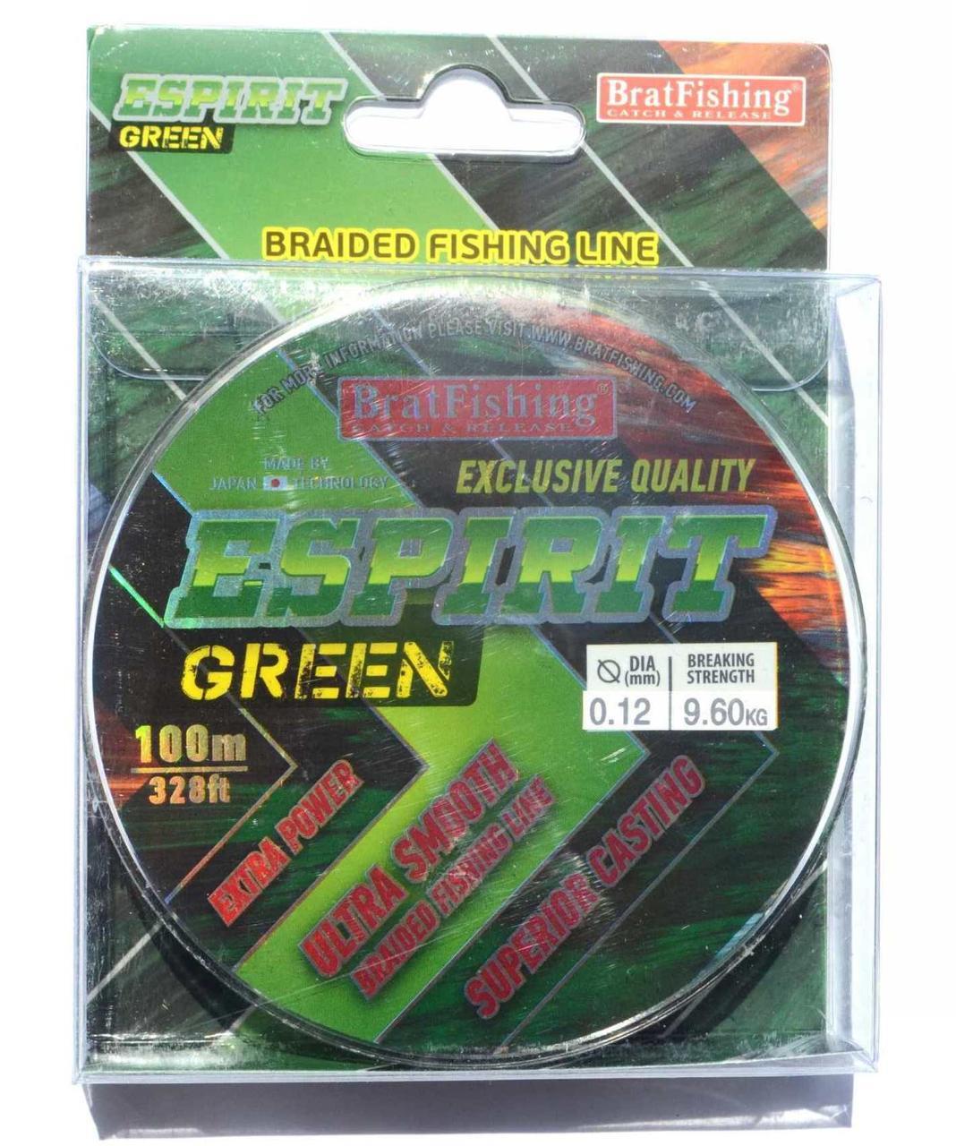 Шнур плетеный BratFishing ESPIRIT GREEN, 0,12, 100м