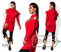 Удлиненная  женская рубашка  стрейч-поплин+вышивка размер 42,44,46