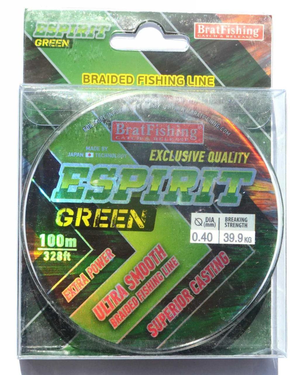 Плетеный шнур БратФишинг ESPIRIT GREEN, 0,40, 100м