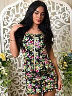 Женский молодежный костюм топ + юбка №41-42 черный
