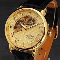 Механические часы скелетоны Часы Winner Gold Tone с открытым механизмом