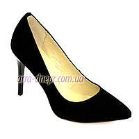 Туфли женские замшевые на шпильке, черный цвет