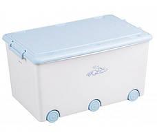 Ящик для игрушек Tega Kroliczki KR-010 белый с синей крышкой