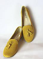 Желтые мокасины лоферы перфорированная кожа, 24см 24. 5 см Италия