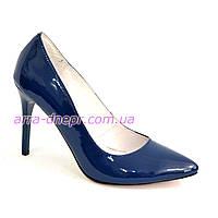 Туфли женские лаковые на шпильке, синий цвет