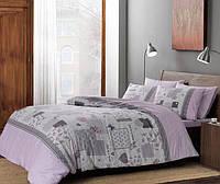 Двуспальное евро постельное белье TAC Elora Lilac Ранфорс