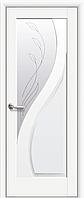 Двері міжкімнатні Новий Стиль, Маестра, модель Прима, Скло сатин з малюнком P2 Білий матовий