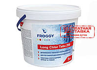 "Медленно растворимый хлор ""Long Chlor Tabs 200"", Froggy (10 кг) химия для бассейна"