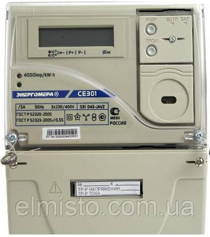 Электросчетчик Энергомера CE 301 S31 043 JAVZ 5-10 А, 3-х фазный, 230/400 В, ЖКИ многофункциональный