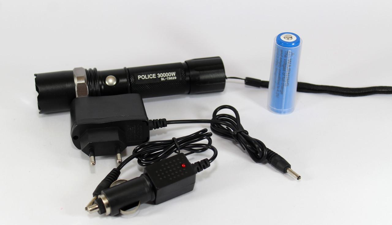 Потужний ліхтарик з синім світлодіодом BL T8629 XPE 30000W, A323