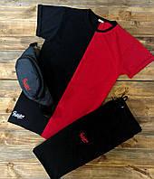 Комплект летний спортивный Шорты + Футболка + СКИДКА! черно-красный