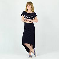 Платье туника женская Париж синяя норма