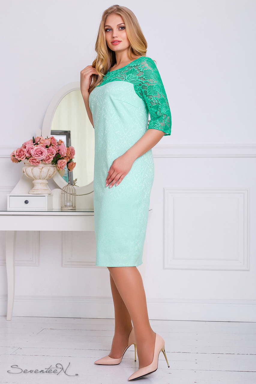 Нарядное женское платье 2213 бирюза  (50-56)