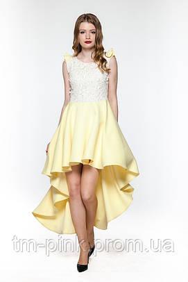 """Сукня коктейльна квіти мереживо шлейф жовта """"Tiffany"""" Платье коктейльное со шлейфом цветы кружево"""