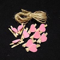 Мини прищепки «Сердце» розовые