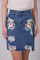 Женская рваная джинсовая юбка с рисунком