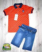 Костюм летний для мальчика:оранжевая футболка и джинсовые шорты