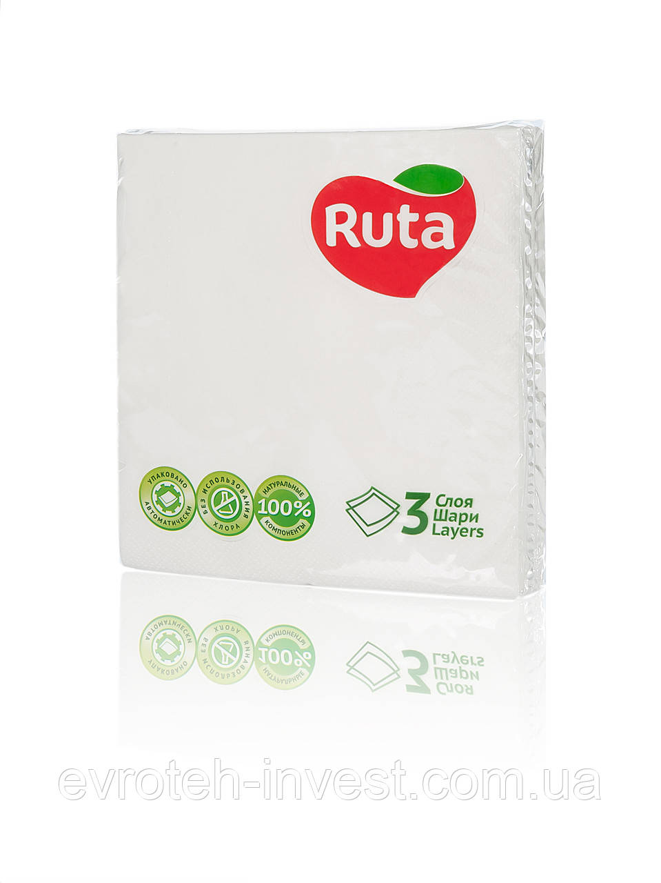 Салфетки Ruta Колор 33х33 белые