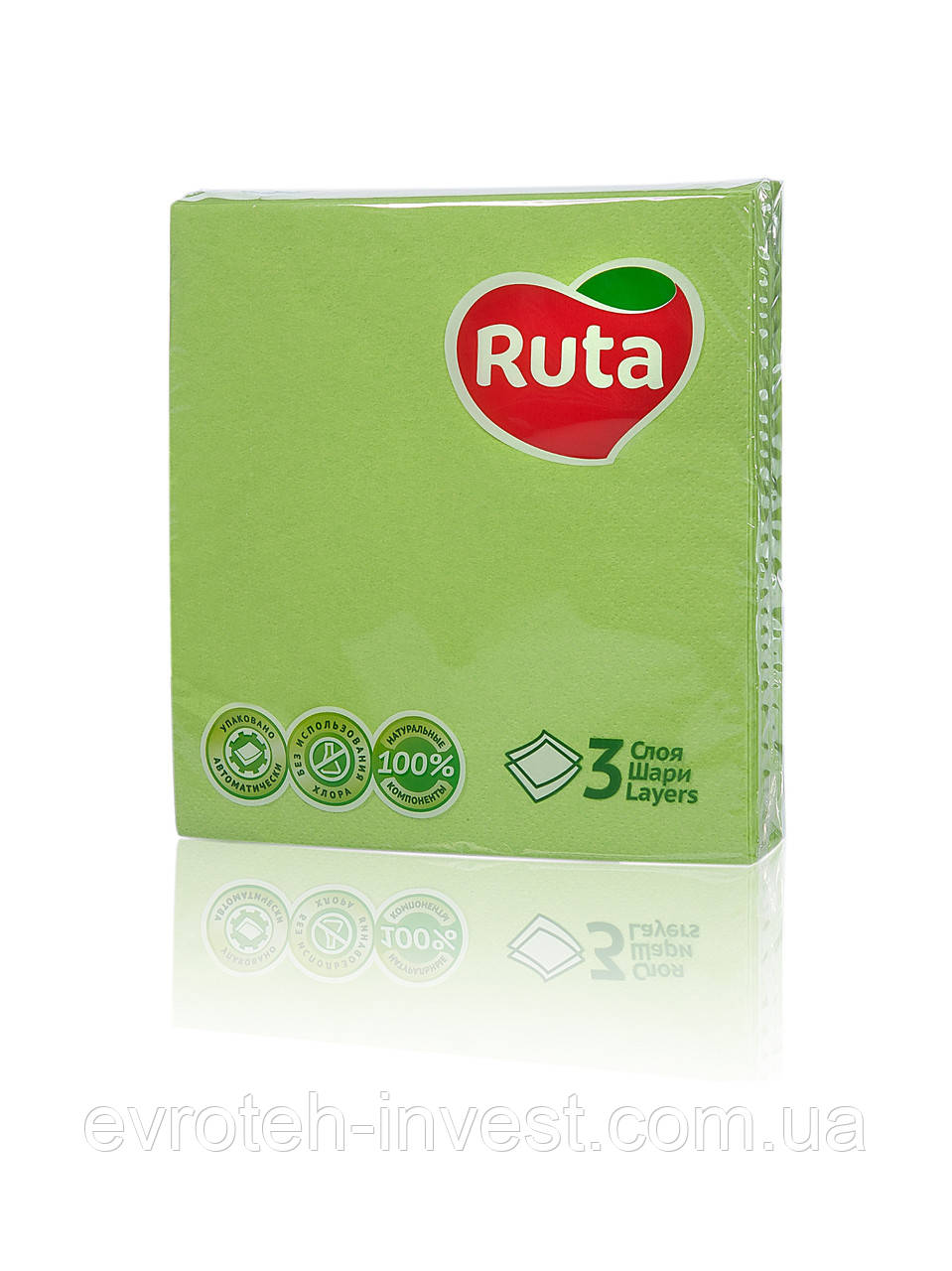 Салфетки Ruta Колор 33х33 зеленые