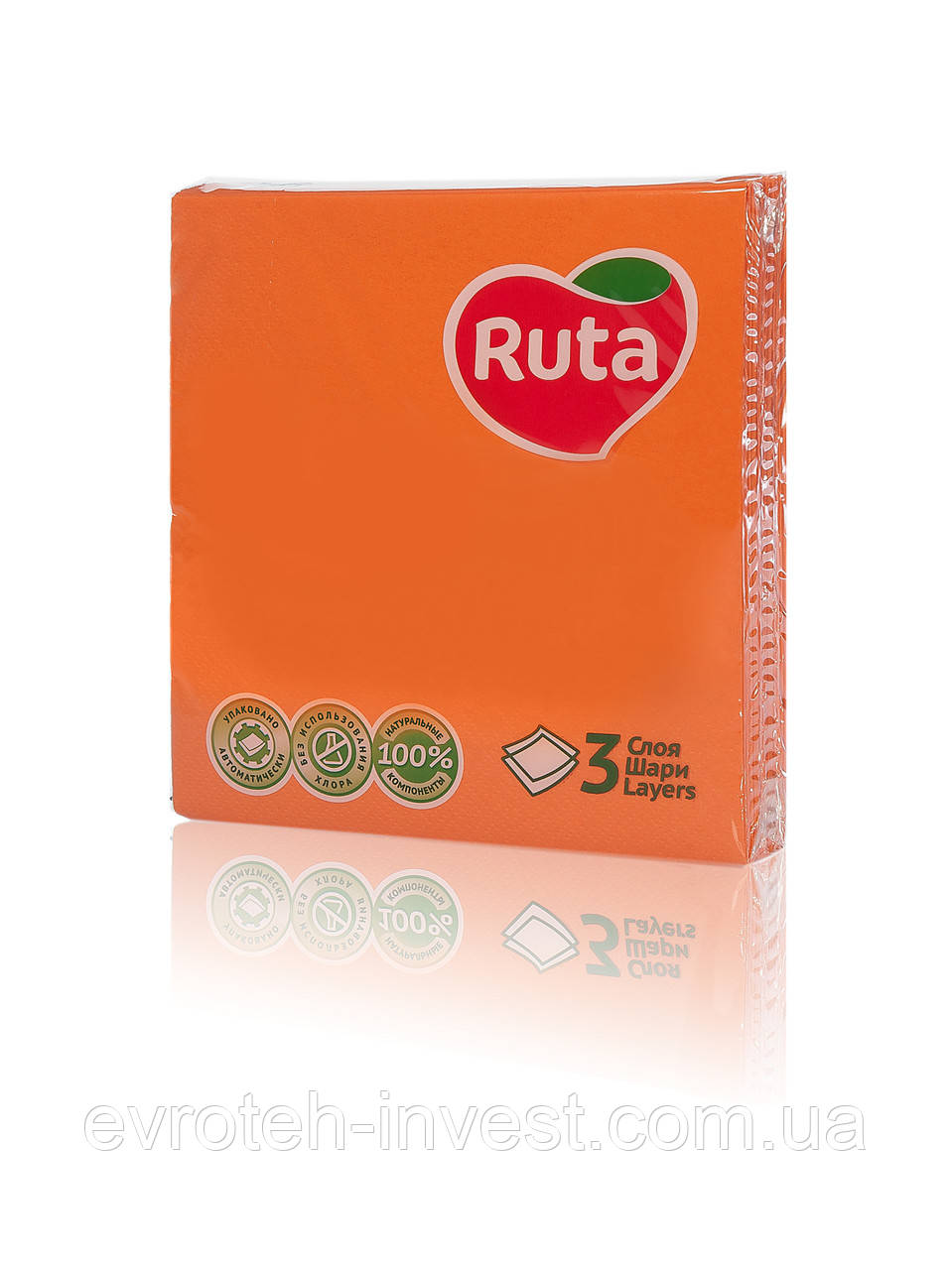 Салфетки Ruta Колор 33х33 оранжевые