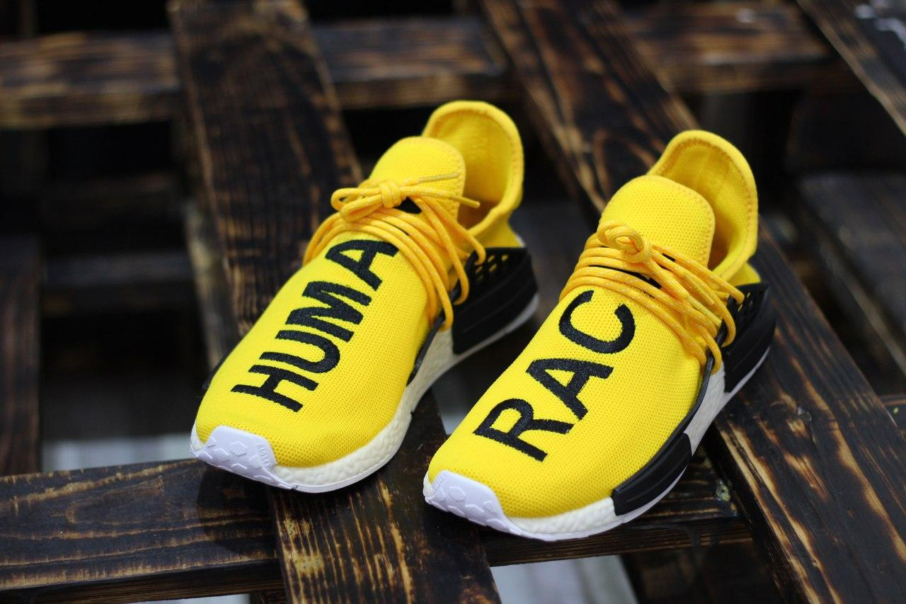 Мужские Кроссовки Adidas Pharrell Williams NMD Human Race Yellow  (реплика)