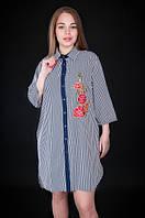 Полосатое платье с вышивкой